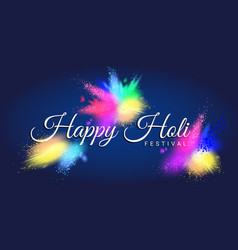 happy holi festival with colorful gulal vector image