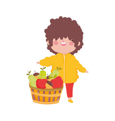 Happy thanksgiving day cute little boy with basket vector