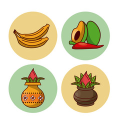happy ugadi icons vector image