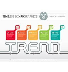 Infographic timeline with five parts Time line of vector image