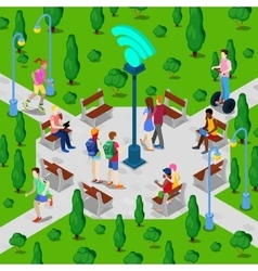 Isometric City Park with Wi-Fi Hotspot vector