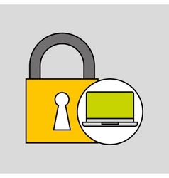 Laptop security padlock with chain concept vector