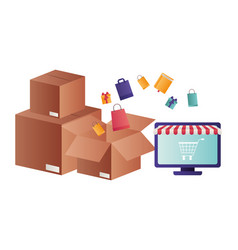 laptop with tent and cardboard boxes isolated icon vector image