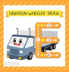 Letter e uppercase tracing eighteen-wheeler truck vector