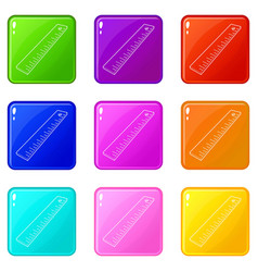 Line icons set 9 color collection vector