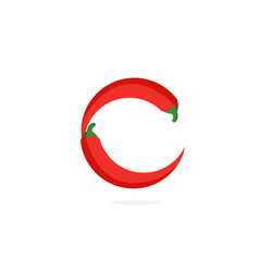 logo red chili pepper letter c vector image
