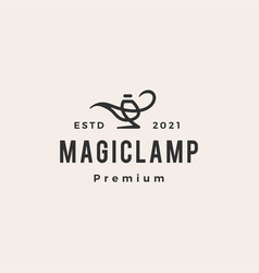 magic lamp hipster vintage logo icon vector image