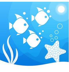magical beautiful underwater background blue sea vector image