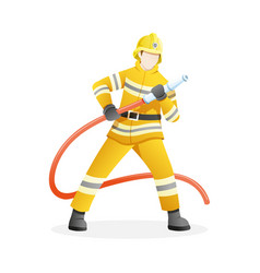 male firefighter put out fire with water hose vector image
