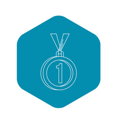 medal for first place icon outline style vector image