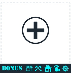 Medical cross icon flat vector