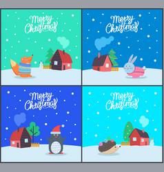 merry christmas seasonal winter holiday set vector image
