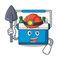 Miner freezer bag mascot cartoon vector