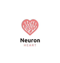 Neuron or coral seaweed with heart love shape logo vector