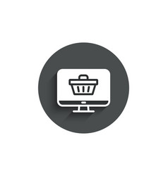 online shopping cart simple icon monitor sign vector image