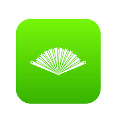 opened oriental fan icon digital green vector image