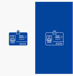 pass card identity id line and glyph solid icon vector image
