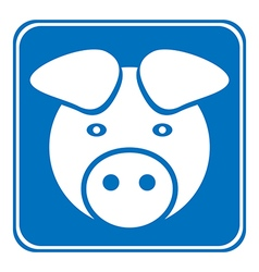 Pig symbol button vector