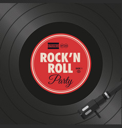 poster-flyer-rock-n-roll-party-vinyl-style vector image