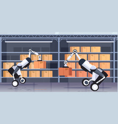 robotic workers loading cardboard boxes hi-tech vector image