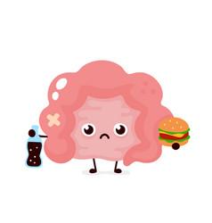 Sad unhealthy sick intestine with bottle vector