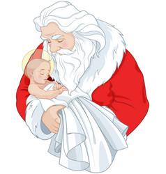Santa and baby jesus vector