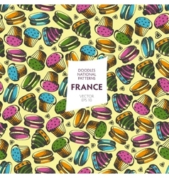 Seamless pattern of tourist attractions of France vector image
