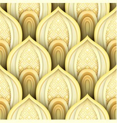 Seamless pattern with gold ethnic motifs vector