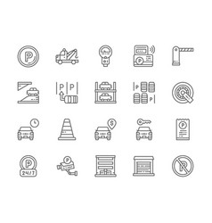 set car parking line icons tow truck car vector image