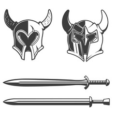 Set horned helmets and swords isolated on vector