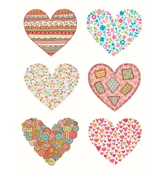 Set of doodle hearts for design vector image
