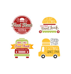 set of original emblems for food truck festival vector image
