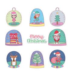 set snowing glass ball decoration to christmas vector image