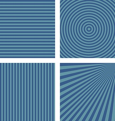 Simple blue striped pattern background set vector