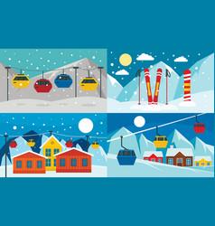 ski resort banner set flat style vector image