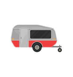 small gray camper trailer with door and big tinted vector image