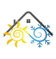 snowflake and sun under the roof of the house vector image