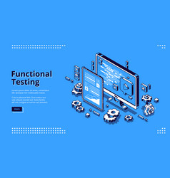 software testing isometric banner functional test vector image