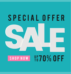 Special offer sale shop now up to 70 off blue bac vector