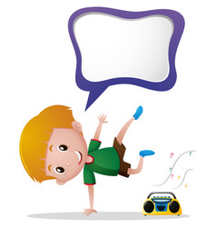 speech bubble template with boy and radio vector image