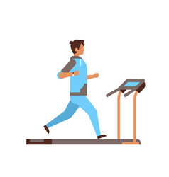 Sportsman running on treadmill guy cardio training vector