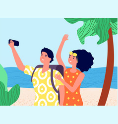 travel selfie enjoying traveling man woman with vector image