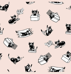 trendy seamless pattern with comic kitten and its vector image