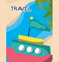 Tropical boat sand sea tourist vacation travel vector
