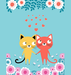 two lovers cats vector image