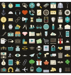 Universal 100 flat icons set vector