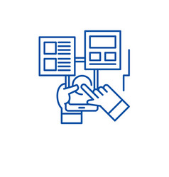 user interaction line icon concept user vector image