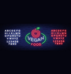 vegan logo neon sign vegan symbol bright vector image