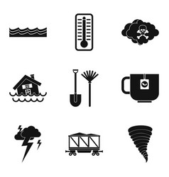 water disaster icon set simple style vector image