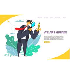 we are hiring website landing page design vector image
